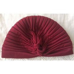 Turbante en punto de seda color corinto talla unica