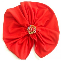 Turbante verano color coral y broche joya