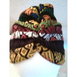 Turbante multicolor en tela guatemalteca